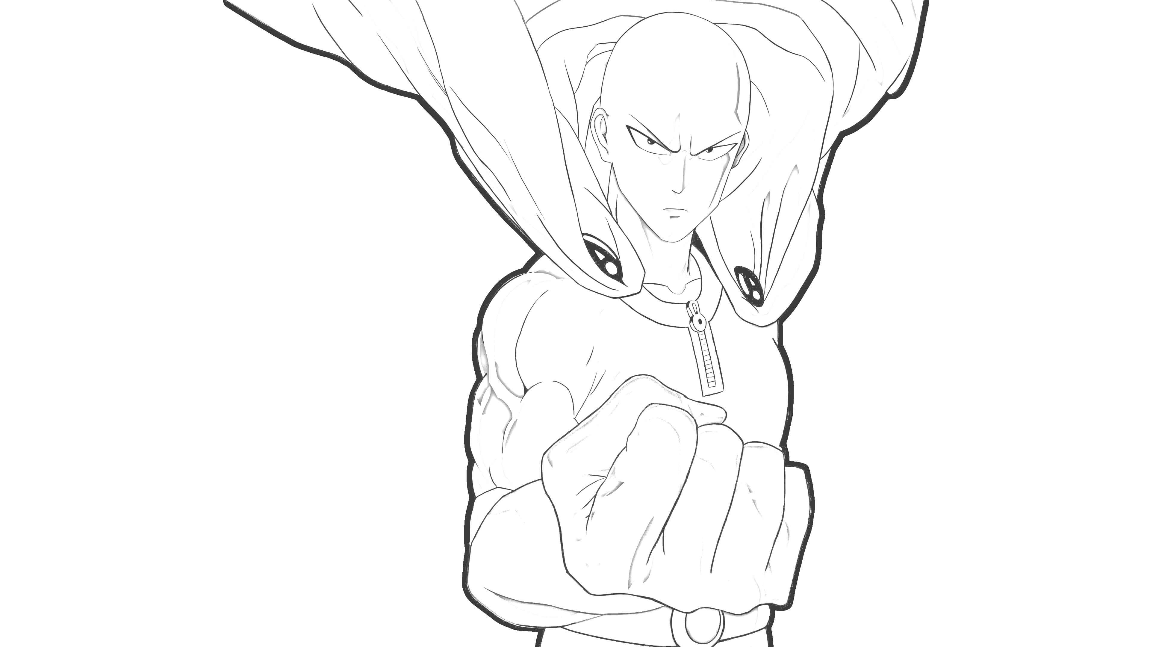 One punch man Saitama mostrando punho