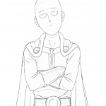 one punch man saitama olhando genos 150x150 - Genos Androide do One Punch Man para colorir