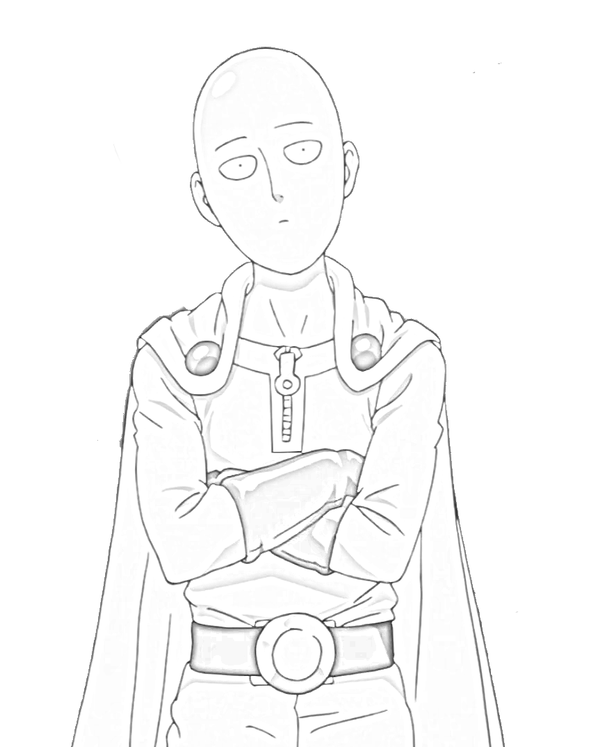 One punch man Saitama olhando Genos para colorir