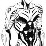 Genos Android sem roupa para colorir 150x150 - Genos Androide do One Punch Man para colorir